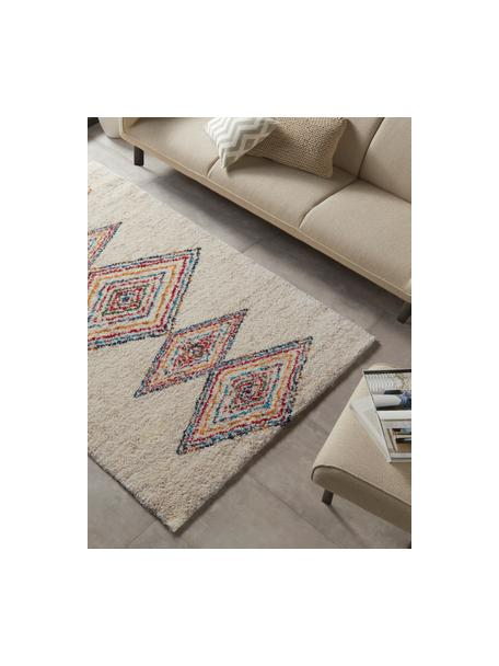 Flauschiger Hochflor-Teppich Andara mit buntem Ethnomuster, Flor: 100% Polypropylen, Beige, Mehrfarbig, B 200 x L 290 cm (Größe L)