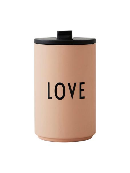 Taza para llevar de diseño Favourite LOVE, Acero inoxidable recubierto, Melocotón, Ø 8 x Al 13 cm