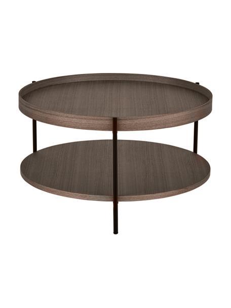 Tavolino da salotto con vano Renee, Ripiani: pannello di fibra a media, Struttura: metallo verniciato a polv, Marrone, Ø 69 x Alt. 39 cm