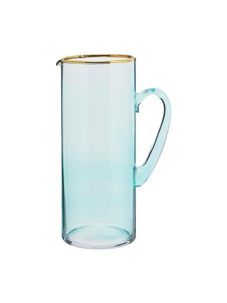 Karaf Chloe in blauw met goudkleurige rand, 1.6 L, Glas, Lichtblauw, H 25 cm