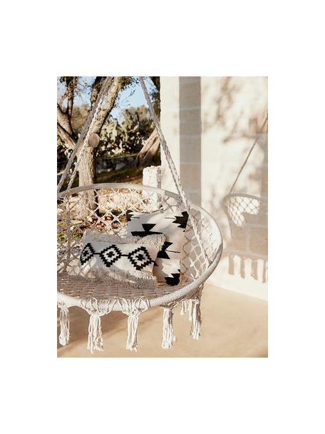 Funda de cojín Taima, estilo boho, 100%algodón, Crudo, negro, An 30 x L 50 cm