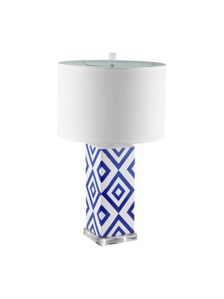 Grote tafellampen Patricia, 2 stuks, Lampenkap: textiel, Lampvoet: keramiek, acryl, Blauw, wit, Ø 38 x H 69 cm