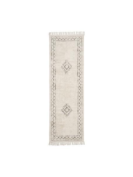Ręcznie tkany chodnik z bawełny w stylu boho z frędzlami Frame, 100% bawełna, Beżowy, czarny, S 80 x D 250 cm