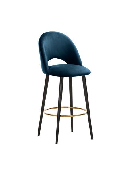 Krzesło barowe z aksamitu Rachel, Tapicerka: aksamit (poliester) 5000, Nogi: metal malowany proszkowo, Aksamitny ciemny niebieski, S 48 x W 110 cm
