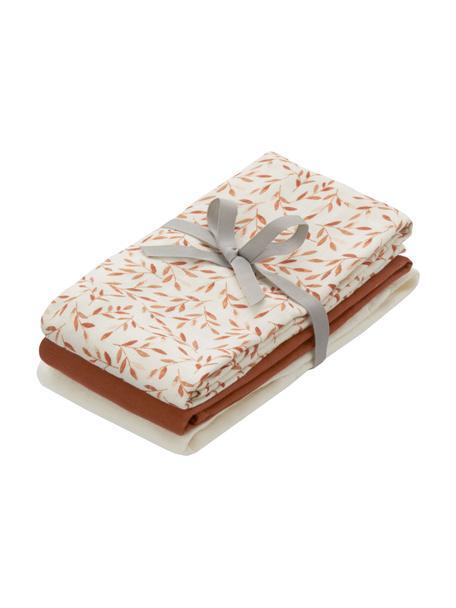 Set de pañales de tela de algodón ecológico Leaves, 3pzas., 100%algodón ecológico, Crema, naranja, marrón, An 70 x L 70 cm