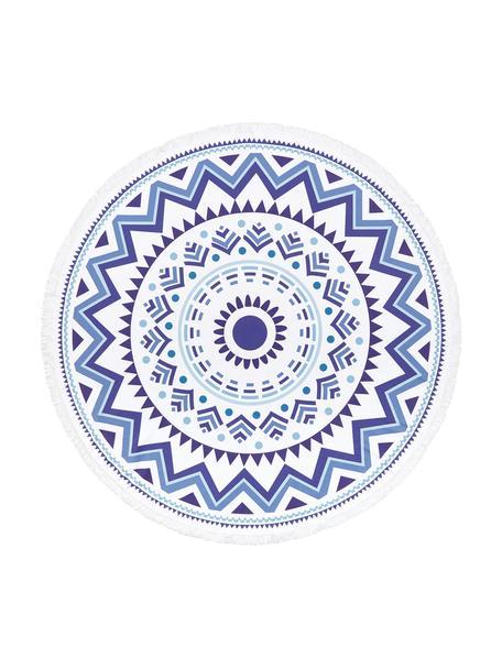 Rundes Strandtuch Hippie, gemustert, 55% Polyester, 45% Baumwolle Sehr leichte Qualität 340 g/m², Dunkelblau, Hellblau, Weiß, Ø 150 cm