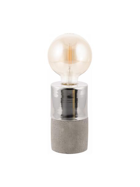 Kleine Beton-Tischlampe Athen, Grau, Chrom, Ø 8 x H 14 cm