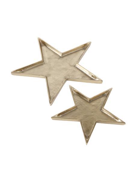 Bandejas decorativas Thye, 2uds., Aluminio, Dorado, Set de diferentes tamaños