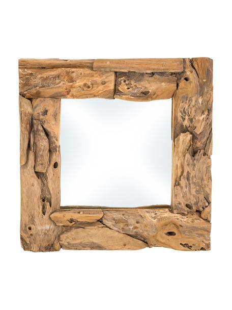 Prostokątne lustro z drewna tekowego Noah, Drewno tekowe, S 50 x W 50 cm