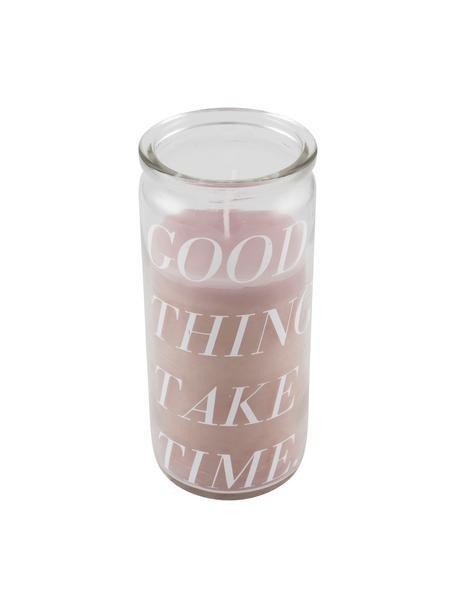 Kaars Good Things, Glas, was, Transparant, roze, Ø 6 x H 14 cm