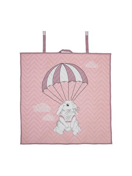 Koc Blanca, Tapicerka: 100% bawełna, Odcienie różowego, biały, czarny, S 100 x D 100 cm