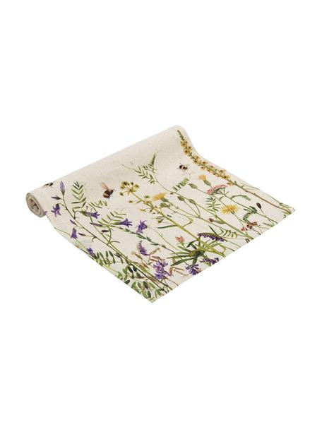 Tafelloper Biene met bloemen motief, 85% katoen, 15% linnen, Beige, multicolour, 40 x 145 cm