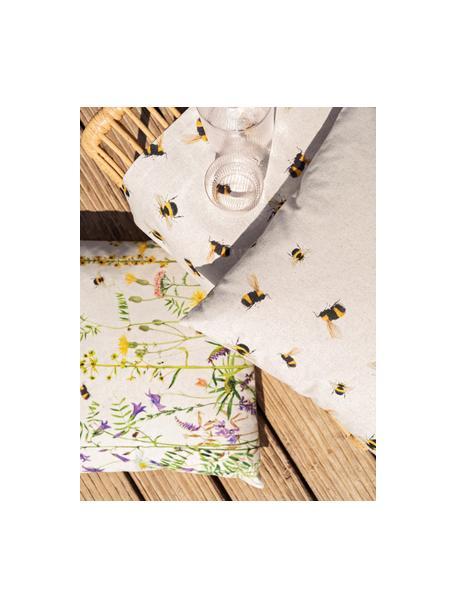 Tischläufer Biene mit Blumenmotiven, 85% Baumwolle, 15% Leinen, Beige, Mehrfarbig, 40 x 145 cm