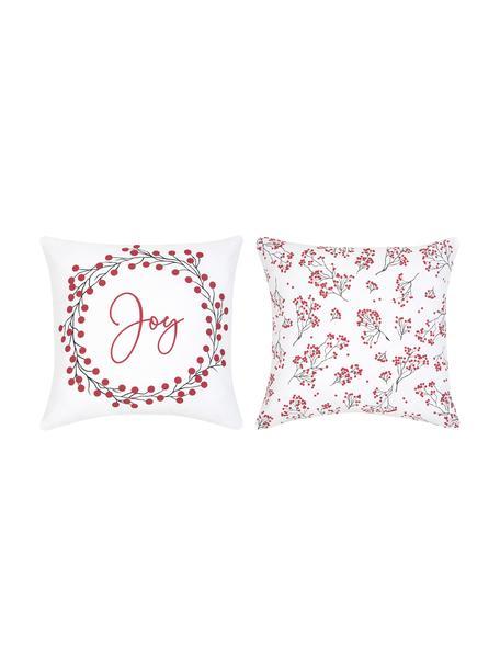 Kussenhoezen Joy met winterprints, 2-delig, Katoen, Rood, wit, zwart, 40 x 40 cm