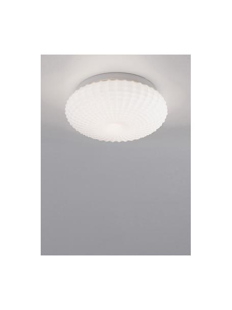 Mała lampa sufitowa ze szkła Clam, Biały, Ø 30 x W 12 cm