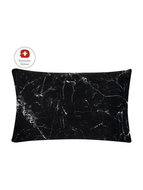 Baumwollperkal-Kissenbezug Malin mit Marmor-Muster, 65 x 100 cm, Webart: Perkal Fadendichte 200 TC, Schwarz, Weiss, 65 x 100 cm