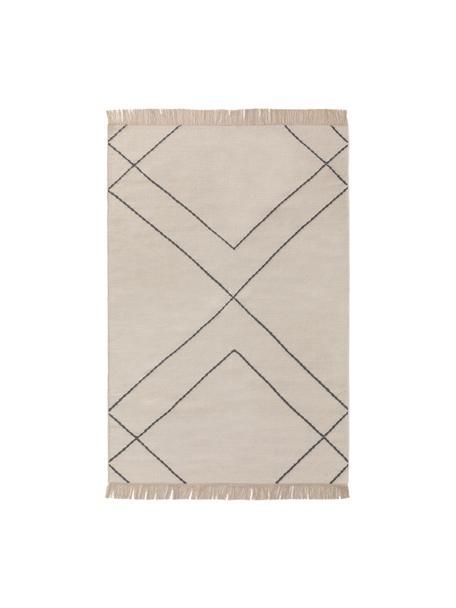 Ręcznie tkany dywan kilim z frędzlami Vince, 90% wełna, 10% bawełna Włókna dywanów wełnianych mogą nieznacznie rozluźniać się w pierwszych tygodniach użytkowania, co ustępuje po pewnym czasie, Kość słoniowa, ciemny szary, S 80 x D 120 cm (Rozmiar XS)