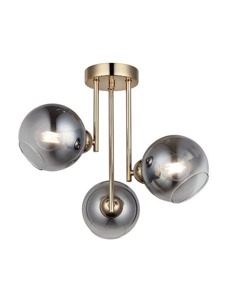 Plafondlamp Bera van gespiegeld glas, Baldakijn: geborsteld metaal, Goudkleurig, grijs, Ø 46 x H 40 cm