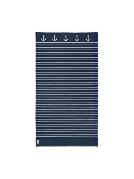 Ręcznik plażowy Sail Away, Ciemny niebieski, biały, S 100 x D 180 cm