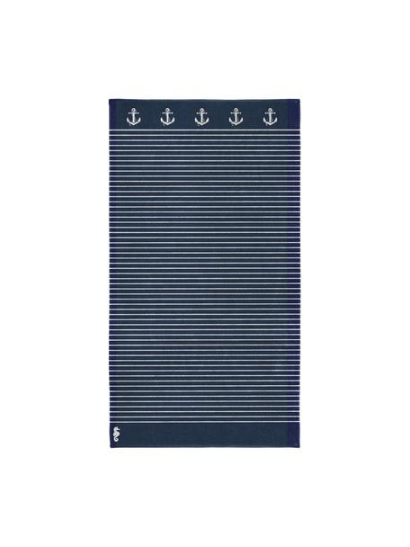 Telo mare a righe Sail Away, Blu scuro, bianco, Larg. 100 x Lung. 180 cm