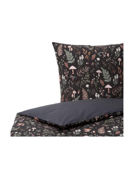 Pościel z perkalu organicznego Mushroom od Candice Gray, Antracytowy, wielobarwny, 135 x 200 cm + 1 poduszka 80 x 80 cm