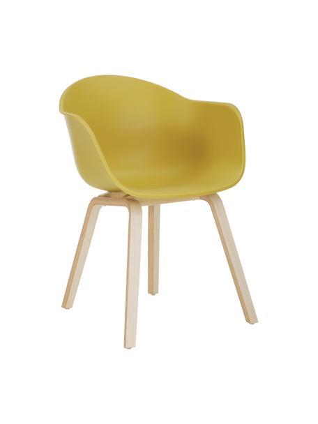 Silla de plático con reposabrazos Claire, Asiento: plástico, Patas: madera de haya, Plástico amarillo, An 60 x F 54 cm