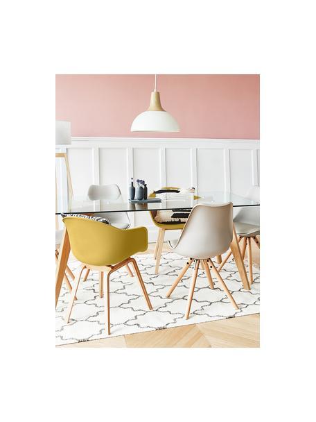 Kunststoff-Armlehnstuhl Claire mit Holzbeinen, Sitzschale: Kunststoff, Beine: Buchenholz, Gelb, B 60 x T 54 cm