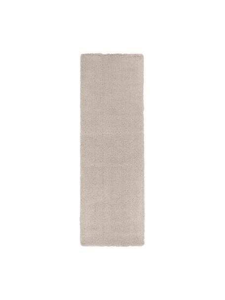 Pluizige hoogpolige loper Leighton in beige, Bovenzijde: 100% polyester (microveze, Onderzijde: 70% polyester, 30% katoen, Beige, 80 x 250 cm