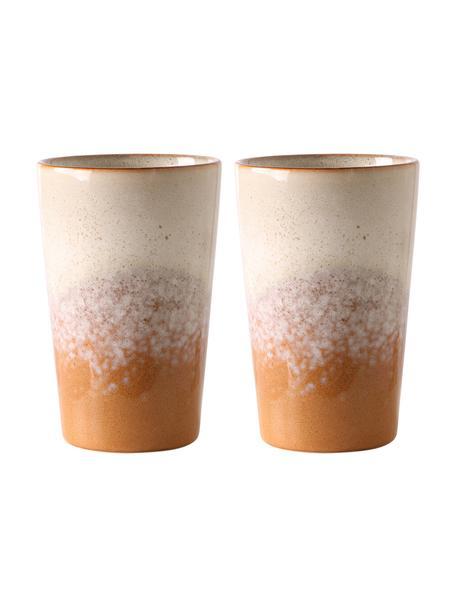 Tazza senza manico fatta a mano in stile retrò 70's 2 pz, Terracotta, Beige, arancione, Ø 9 x Alt. 14 cm