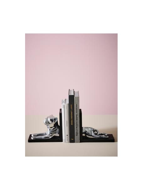 Buchstützen Sebastian, 2er-Set, Rahmen: Holz, lackiert, Silberfarben, Schwarz, 36 x 16 cm