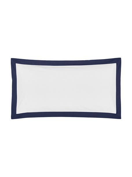 Baumwollperkal-Kissenbezüge Joanna in Weiß mit blauem Stehsaum, 2 Stück, Webart: Perkal Fadendichte 200 TC, Weiß, Dunkelblau, 40 x 80 cm
