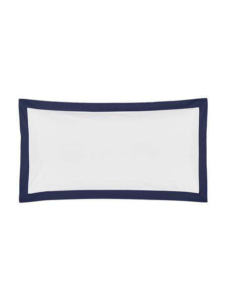 Poszewka na poduszkę z perkalu bawełnianego Joanna, 2 szt., Biały, ciemnyniebieski, S 40 x D 80 cm