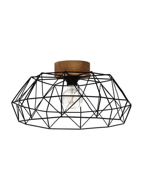 Plafondlamp Padstow met houten decoratie, Lampenkap: gelakt metaal, Baldakijn: hout, Zwart, houtkleurig, Ø 46 x H 21 cm