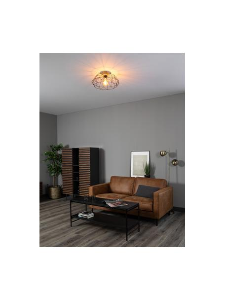 Deckenleuchte Padstow mit Holz-Dekor, Lampenschirm: Metall, lackiert, Baldachin: Holz, Schwarz, Holz, Ø 46 x H 21 cm