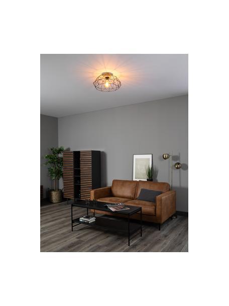 Lampa sufitowa Padstow, Czarny, drewno naturalne, Ø 46 x W 21 cm