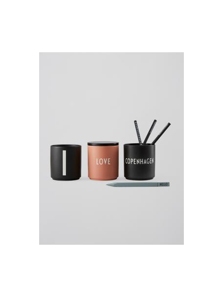 Design beker Favourite COPENHAGEN in zwart met opschrift, Fine Bone China (porselein), Zwart, wit, Ø 8 x H 9 cm