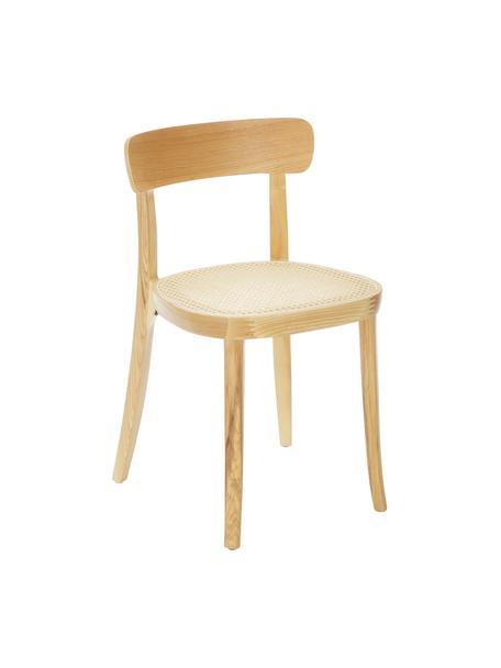 Houten stoelen Richie met Weens vlechtwerk, 2 stuks, Zitvlak: rotan, Frame: massief essenhout, Licht hout, 45 x 75 cm
