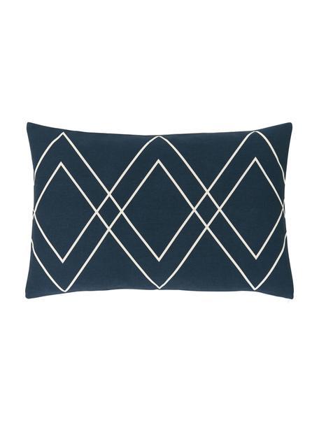Federa arredo boho color bianco crema/blu navy Ausel, 100% cotone, Blu navy, Larg. 30 x Lung. 50 cm