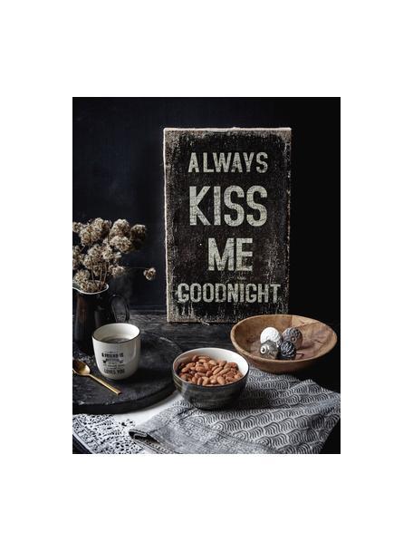 Wandbord Always Kiss Me Goodnight, Gecoat metaal, Zwart, gebroken wit, 27 x 35 cm