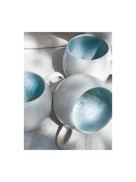 Handgeschilderde theemokken Areia met reactief glazuur, 2 stuks, Keramiek, Lichtblauw, gebroken wit, lichtbeige, Ø 9 x H 10 cm