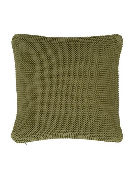 Strick-Kissenhülle Adalyn aus Bio-Baumwolle in Grün, 100% Bio-Baumwolle, GOTS-zertifiziert, Grün, 40 x 40 cm