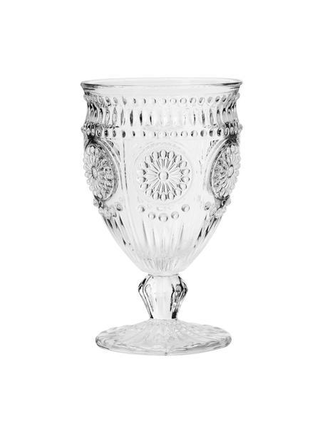 Copas de vino con relieves Chambord, 6uds., Vidrio, Transparente, Ø 9 x Al 14 cm