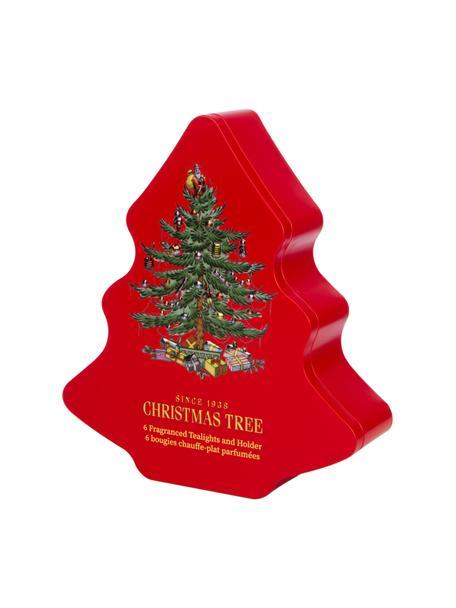 Teelichthalter-Set Xmas Tree mit Metall-Box (Fichtennadeln, Zedernholz. Orange), 8-tlg., Box: Metall, Behälter: Glas, Rot, 20 x 23 cm