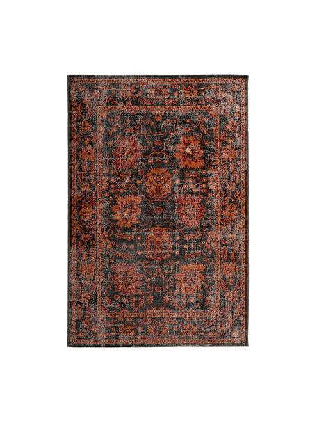 Alfombra para interior/exterior Tilas, estilo oriental, 100%polipropileno, Gris antracita, naranja, rojo, An 80 x L 150 cm (Tamaño XS)