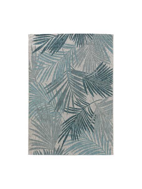 Tappeto da interno-esterno con motivo a foglia di palma Cleo, 90% polipropilene, 10% poliestere, Blu, Larg. 80 x Lung. 150 cm (taglia XS)