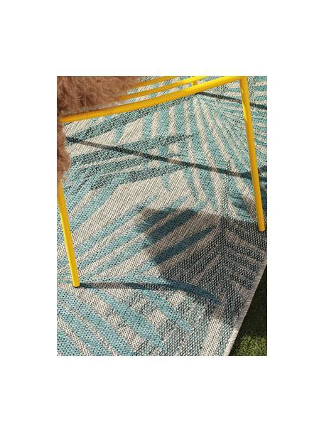In- & outdoor vloerkleed Cleo met palmbladmotief, 90% polypropyleen, 10% polyester, Blauw, B 80 x L 150 cm (maat XS)