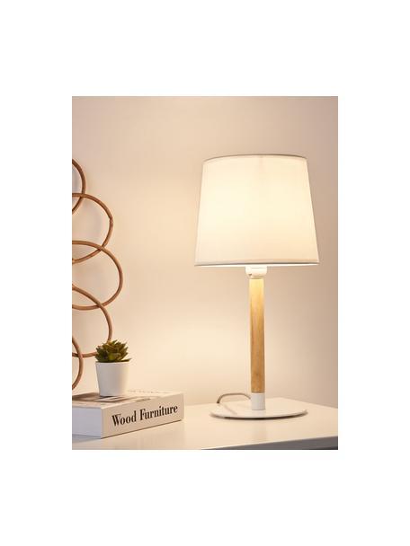 Tafellamp Woody Cuddles met houten voet, Lampenkap: stof, Lampvoet: gecoat metaal, Stang: hout, Wit, houtkleurig, Ø 22 x H 44 cm