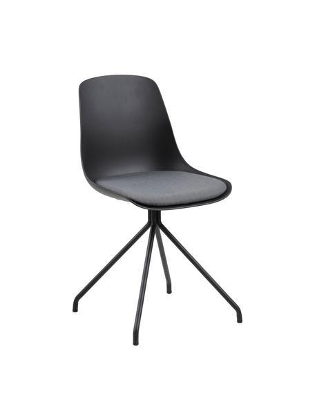 Stuhl Eva in Schwarz, Beine: Metall, beschichtet, Sitzschale: Kunststoff, Sitzkissen: Polyester, Schwarz, 51 x 85 cm