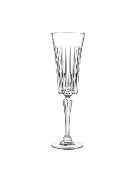 Kieliszek do szampana ze szkła kryształowego z reliefem Timeless, 6 szt., Szkło kryształowe Luxion, Transparentny, Ø 7 x W 24 cm