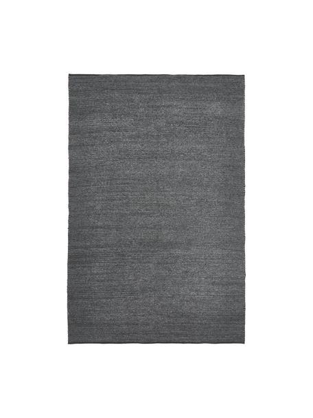 Tappeto in lana tessuto a mano Uno, 60% lana, 40% poliestere Nel caso dei tappeti di lana, le fibre possono staccarsi nelle prime settimane di utilizzo, questo e la formazione di lanugine si riducono con l'uso quotidiano, Grigio scuro, melangiato, Larg. 120 x Lung. 170 cm (taglia S)